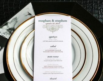 "Reception Dinner, Wedding Menus, Table Menus, Traditional Wedding, Green and Gold - ""European Scroll"" Flat Menu, No Layers - DEPOSIT"