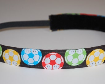 Non-Slip Headband - Multicolored Soccer Ball Ribbon Headband - THIN size - non slip headband for soccer