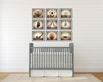 Sports Wall Art,  Set of Nine photo prints, Boys Nursery Decor, Rustic sports Decor, Vintage Sports art, Boys Sports room