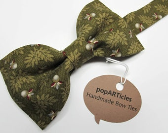 Olive Oak Leaf Bow Tie - Olive Floral Bow Tie - Men's Pre-Tied Bow Tie - Forest Green Bow Tie - Woodland Bow Tie - Tree Bow Tie