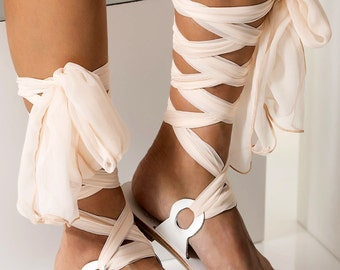 """Bridal leather sandals with silk laces, Wedding flats, White sandals """"Agape"""""""