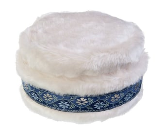 Faux Fur Hat with Blue Trim