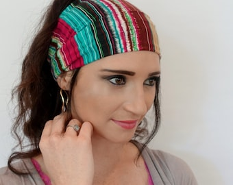 Wide Headband Cotton Jersey Turband Head Wrap Bohemian Stripes Yoga HeadBand Wine Red Teal Brown Cream or Choose Your Color