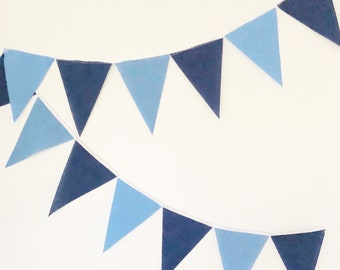 Garland Flag Bunting, Solid Colors Fabric Banner, Navy Blue, Blue Pennants, Boy Baby Shower, Boy Baby Nursery Decor, Birthday Party Decor
