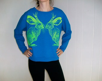 Kissing Jackalopes sweatshirt - neon eco screenprint on teal blue upcycled cotton fleece - one of a kind, size Large