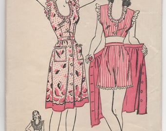 """1940's Advance Two Piece Playsuit with Button On Skirt Pattern - Bust 30"""" - no. 3439"""