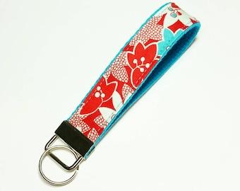 FREE SHIPPING UPGRADE with minimum -  Key Fob - Key Lanyard - Wristlet Lanyard - Fabric Keychains - Wristlet Lanyard -- Red Flowers on Teal