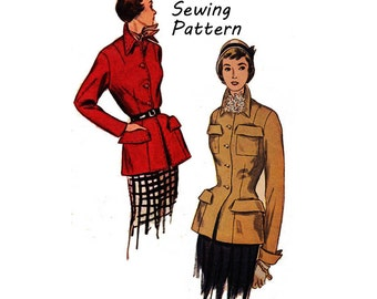 """Simplicity 3099 Woman's Fitted Jacket with Patch Pockets Sewing Pattern Size 14 Bust 32""""/ 81 cm    Vintage 1950's"""