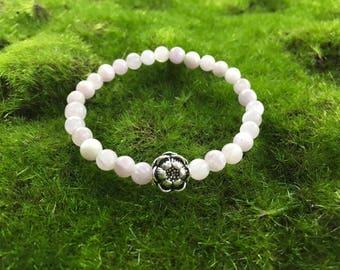 Violet Kunzite Natural Gemstone Stretch Yoga bracelet with Lotus Blossom - Boho Bracelet - healing bracelet