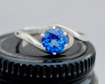 Rihanna - Alternative Engagement Ring, gemstone ring, Electric Blue Topaz gem, silver, promise ring, November birthday, 4th Anniversary gift