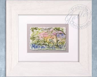 Bicycle Art Original Watercolor Painting Plus Mat - Bike Gift Country Farm House Home Decor  8x10 FREE Shipping