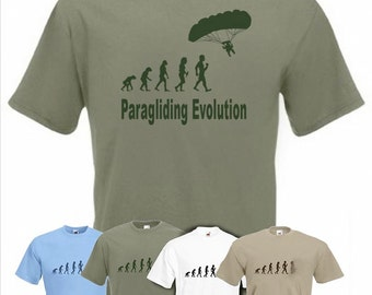 Evolution To Paraglider t-shirt Funny Paragliding T-shirt sizes Sm TO 2XXL