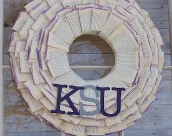 Custom, Made to Order - Book Page Wreath with Watercolor-Dipped Edges and Team Letters