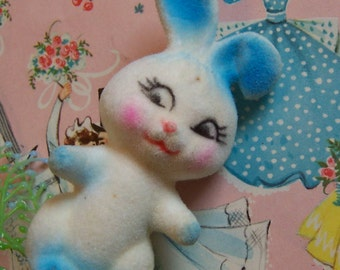 little vintage flocked bunny rabbit