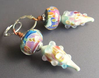 Colorful Borosilicate and Etched Glass Spring Colors Fiesta Drop Earrings Sterling and Copper with Oval Sterling Silver Leverback Earwires