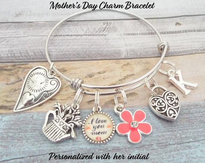 Mother's Day Charm Bracelet, Gift for Mom, Gift for Mother, Child to Mother Gift, Gift for Mother's Day, Personalized for Her, Gift for Her