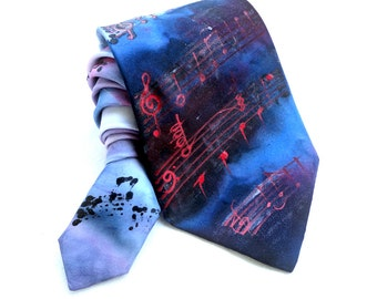 Musical Notes Tie. Gift for Him. Hand Painted Silk Tie Blue Red Men Tie. OOAK Silk Tie. Silk Neck Tie. Grooms Wedding Tie. MADE to ORDER