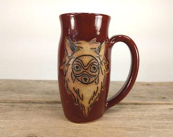 Princess Mononoke Mask Mug - 16 oz Dark Red - Wheel Thrown Hand Carved Studio Ghibli Coffee Cup
