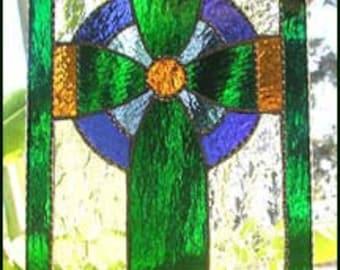 "Stained Glass Suncatcher, Celtic Cross, Irish Design Sun Catcher, Irish Gift, Sun-Catcher. Glass Cross, Mother's Day, 8 1/2"" x 12"", 9586-GR"