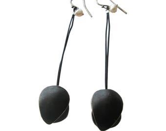Oxidized Silver earrings,modern earrings,Contemporary earrings,shell,minimal earrings,unusual earrings,long earrings,designer earrings