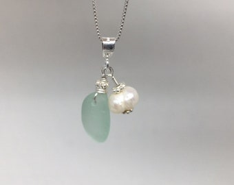 Genuine Sea Glass - Sea Foam Blue & Freshwater Pearl, Sterling Silver necklace