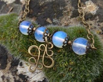 Necklace * Opal goddess *, foils, bronze chain and arabesque