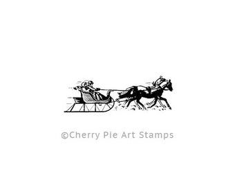 SLEIGH - CLiNG Rubber STAMP- Rubber stamp by Cherry Pie D160