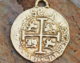 Reproduction Spanish 8 Reale Coin in Bronze, 30mm or 1.25 Inches,  PN-314