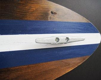 3 Foot Wood Surfboard Coat Rack with Three Boat Cleats