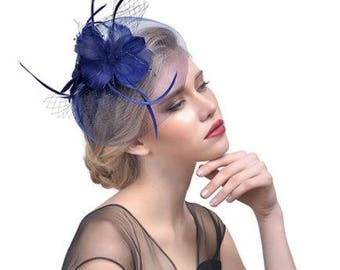 Wedding Church Tea Party Fascinator Hat. Feather Bridal  Hair Clip Head Accessory.Dark Navy Blue Funeral Derby Fascinator hat Headpiece