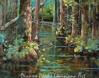 Louisiana Swamp, Bluebonnet Cypress Swamp in Louisiana, Cypress Trees in Spring, Impressionist Colorful Louisiana Art - 'Bluebonnet Swamp'