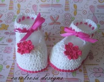 Crochet Pattern - Baby/Child Booties Shoes Christening Summer Baptism Heirloom