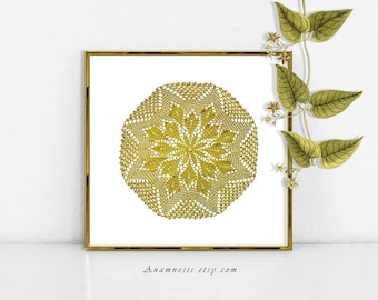 DOILY 2 IN GOLD - digital image download - printable vintage image for image transfer - totes, pillows, prints, fabric, towels, tags