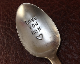 Love you Mom hand stamped spoon - handmade mothers day gift  -I love you mom - gift hand stamped spoon - tea spoon - coffee spoon- mom gift