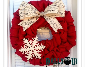 Christmas Burlap Wreath - Winter Wreath, Red  with Merry Christmas Ribbon , Holiday Burlap Wreath - Merry Christmas  Wreath