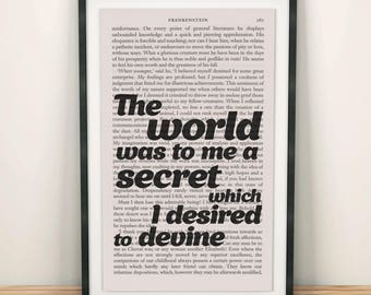 Frankenstein Quotes Book Page Art The World Was To Me A Secret Print Frankenstein Print Book Lover Print Frankenstein Art Modern Nursery Art