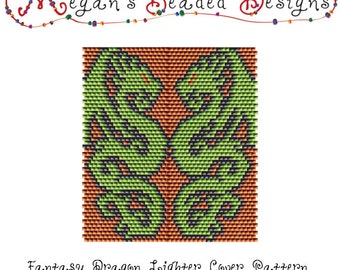Beading Pattern: Dragon Lighter Cover in Brick Stitch or Peyote with Green and Orange