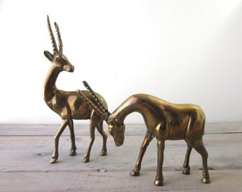 Vintage Brass Antelope Figurines