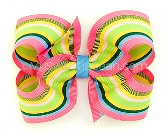 Preppy Hair Bow, 4 inch Boutique Bow, Hot Pink, Blue Green, Preppy Striped Bow, Baby Toddler Girls Preppy Boutique Bow, Preppy Bow for Girls