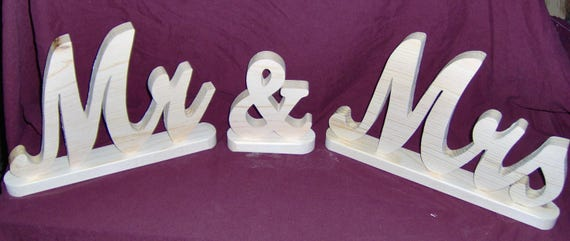 Wooden Table Decoration Mr & Mrs  8 inch tall by the Old Coot