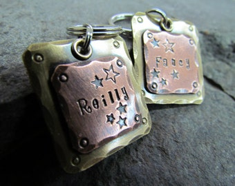 Pet ID Tag-Large Pet Tag - dog id tag - dog tag -custom dog tag - Copper on Brass - Mixed Metal Dog Tag- Halter/Bridle tag