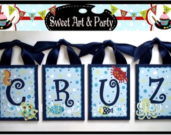 Ocean, Nursery wall art, Nursery wall letters, Canvas wall letters, Seahorse, Fish, Crab, Beach nursery decor, monogram art, Hand Painted