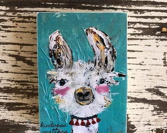 llama art whimsical art art block original art kindness matters kids gift