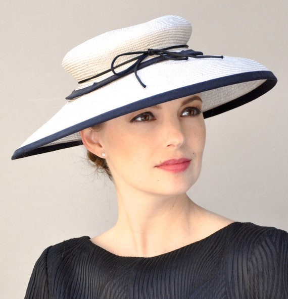 Wedding Hat, Black & White Hat, Derby Hat, Saucer Hat, Church Hat Formal Hat  Royal Ascot Hat Special Occasion Hat