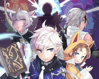 Defenders of Eorzea   final fantasy poster, final fantasy print, final fantasy xiv, ffxiv, video game poster, anime poster, gamer decor