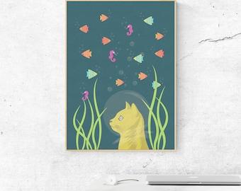 Nursery Wall Art, Cat Illustration Print, Cat Wall Art Print, Kids Room Wall Art, Nursery Decor Art Print, Illustration Art Print, Cat Print