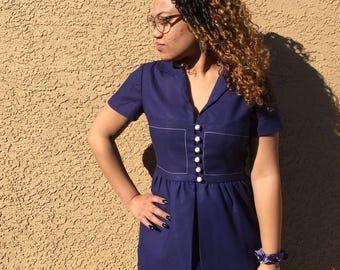 60s Royal Blue Nautical Dress M