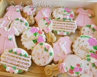 Floral stork baby shower cookies/baby/flowers/storks (24 cookies)