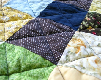 SALE Puffy Baby Quilt Unisex Baby Blanket in Blue Green Patchwork Quilt