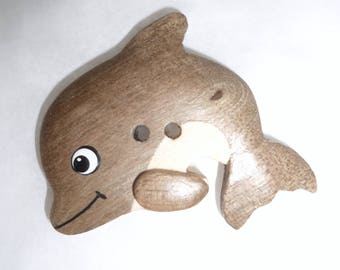 Button wood Dolphin two colors